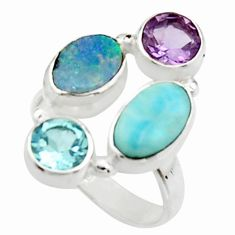 6.80cts natural blue doublet opal australian 925 silver ring size 6.5 r22266