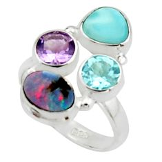 6.58cts natural blue doublet opal australian 925 silver ring size 7.5 r22267
