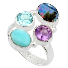 6.76cts natural blue doublet opal australian 925 silver ring size 7.5 r22269