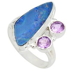 6.46cts natural blue doublet opal australian 925 silver ring size 9.5 r22633