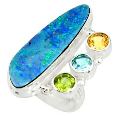 7.58cts natural blue doublet opal australian 925 silver ring size 6.5 r22634