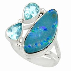6.62cts natural blue doublet opal australian 925 silver ring size 7.5 r22636