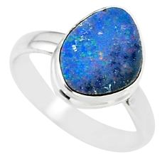 6.83cts natural blue doublet opal australian 925 silver ring size 8.5 r88539