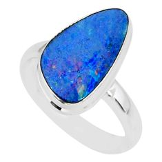 7.17cts natural blue doublet opal australian 925 silver ring size 8.5 r88543