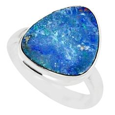 6.95cts natural blue doublet opal australian 925 silver ring size 6 r88525