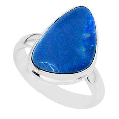 6.73cts natural blue doublet opal australian 925 silver ring size 6 r88528