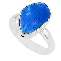 6.25cts natural blue doublet opal australian 925 silver ring size 6 r88547