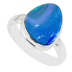 6.19cts natural blue doublet opal australian 925 silver ring size 6 r88551