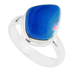 5.58cts natural blue doublet opal australian 925 silver ring size 6 r88556