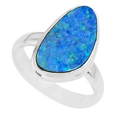 6.10cts natural blue doublet opal australian 925 silver ring size 6 r88558