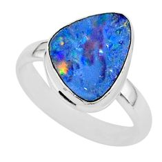 5.61cts natural blue doublet opal australian 925 silver ring size 7 r88521