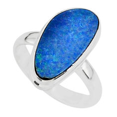 6.66cts natural blue doublet opal australian 925 silver ring size 7 r88532
