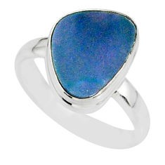 6.22cts natural blue doublet opal australian 925 silver ring size 7 r88542