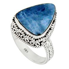 6.85cts natural blue doublet opal australian 925 silver ring size 8 r19652