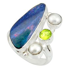 8.03cts natural blue doublet opal australian 925 silver ring size 8 r22630