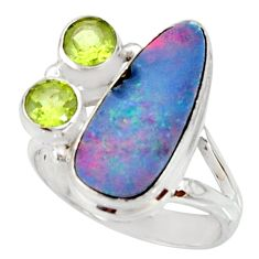 6.48cts natural blue doublet opal australian 925 silver ring size 8 r22637