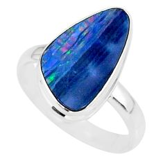 6.39cts natural blue doublet opal australian 925 silver ring size 8 r88522