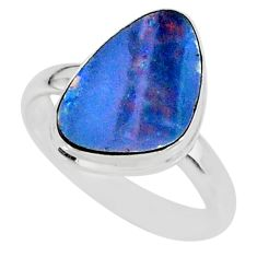 6.88cts natural blue doublet opal australian 925 silver ring size 8 r88529