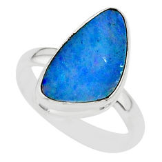 7.17cts natural blue doublet opal australian 925 silver ring size 8 r88531