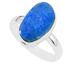 6.41cts natural blue doublet opal australian 925 silver ring size 8 r88541