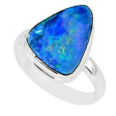 7.29cts natural blue doublet opal australian 925 silver ring size 8 r88546