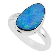 6.61cts natural blue doublet opal australian 925 silver ring size 8 r88548