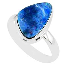 6.77cts natural blue doublet opal australian 925 silver ring size 8 r88550