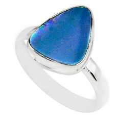 6.56cts natural blue doublet opal australian 925 silver ring size 8 r88560