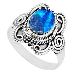 1.93cts natural blue doublet opal australian 925 silver ring size 8 t14540