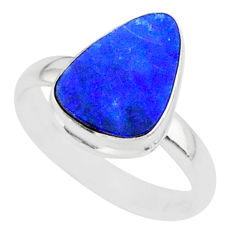 6.86cts natural blue doublet opal australian 925 silver ring size 9 r88523