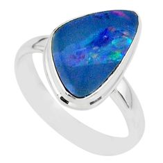 7.28cts natural blue doublet opal australian 925 silver ring size 9 r88555