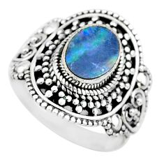 1.91cts natural blue doublet opal australian 925 silver ring size 7.5 t14536