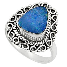 Natural blue doublet opal australian 925 silver solitaire ring size 7.5 r47318