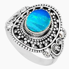 1.95cts natural blue doublet opal australian oval silver ring size 8.5 t14537