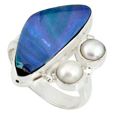 6.89cts natural blue doublet opal australian pearl 925 silver ring size 8 r22632