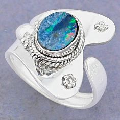 2.17cts natural blue doublet opal australian silver adjustable ring size 6 t8694