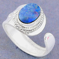 1.96cts natural blue doublet opal australian silver adjustable ring size 6 t8697
