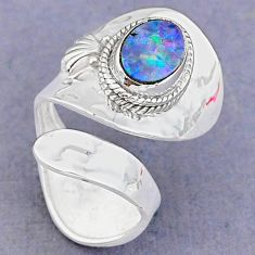 2.40cts natural blue doublet opal australian silver adjustable ring size 7 t8681