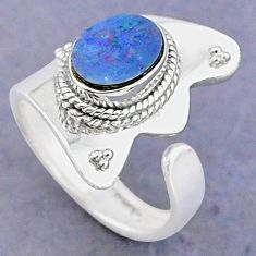 2.12cts natural blue doublet opal australian silver adjustable ring size 7 t8685