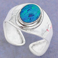 2.29cts natural blue doublet opal australian silver adjustable ring size 7 t8691