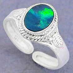 1.96cts natural blue doublet opal australian silver adjustable ring size 9 t8686