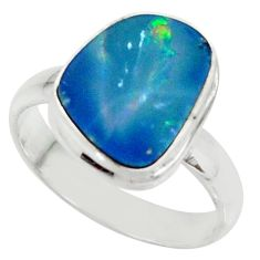 4.42cts natural blue doublet opal australian silver solitaire ring size 7 r39257