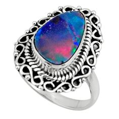 3.65cts natural blue doublet opal australian silver solitaire ring size 7 r47301
