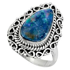 3.75cts natural blue doublet opal australian silver solitaire ring size 7 r47325