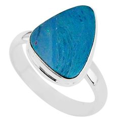 4.42cts natural blue doublet opal australian silver solitaire ring size 8 t4220