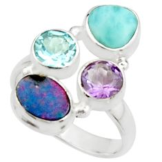6.26cts natural blue doublet opal australian topaz 925 silver ring size 8 r22261