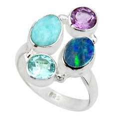 6.83cts natural blue doublet opal australian topaz 925 silver ring size 8 r22265