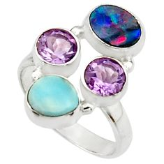 6.76cts natural blue doublet opal australian topaz 925 silver ring size 8 r22270