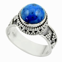 5.61cts natural blue dumorite (dumortierite) 925 silver ring size 8.5 r44245