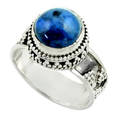 5.60cts natural blue dumorite (dumortierite) 925 silver ring size 8.5 r44248